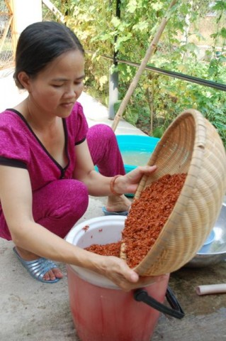 After soaking the rice overnight, Di Yen drains it well and then transfers it to a cooler to carry to the local rice grinder.